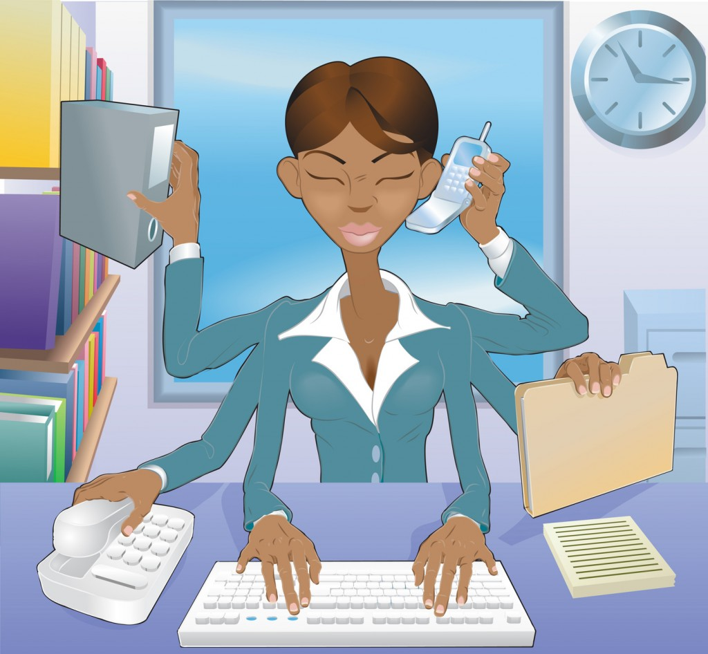 Business woman multi-tasking